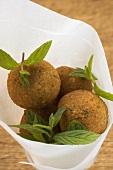 Falafel (chick-pea balls) with fresh mint