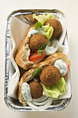 Falafel (chick-pea balls) in flatbread to take away