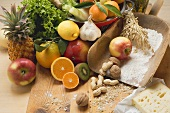 Fresh vegetables, fruit, nuts, flour and cheese