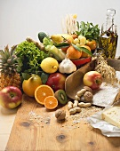 Fresh vegetables, fruit, nuts, flour, cheese and olive oil