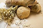 Baguette, wholemeal rolls, cereal ears, sesame, flour, oats