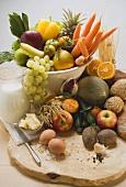 Fresh vegetables, fruit, eggs, butter, milk & wholemeal bread