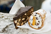 Chocolate nut cake and stracciatella roll (Italy)