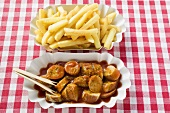 Currywurst (sausage with ketchup & curry powder) with chips