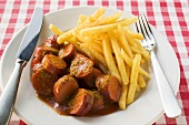 Currywurst (sausage with ketchup & curry powder) and chips