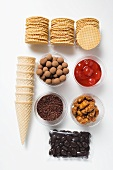 Wafers and ingredients for decorating ice cream desserts