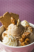 Nut ice cream with caramelised nuts, cream and cookies