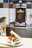 Döner kebab on a snack bar counter