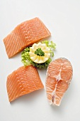 Fresh salmon cutlet and salmon fillets from above