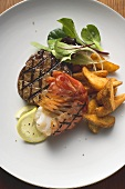 Surf and Turf (beef fillet and prawn) with potato wedges