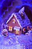 Gingerbread house with atmospheric lighting