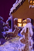 Gingerbread house with atmospheric lighting (detail)