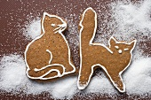 Two gingerbread cats