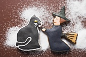 Gingerbread witch and black cat