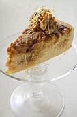 Piece of caramel rice cake with walnuts