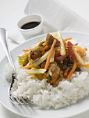 Rice with Asian vegetables,  soy sauce