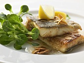 Fried trout with flaked almonds
