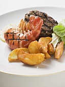 Surf and Turf (prawn and beef steak) with potato wedges