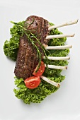 Roast rack of lamb garnished with tomatoes and rosemary