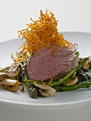 Beef steak with green asparagus and mushrooms