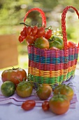 Various types of tomatoes in shopping bag (out of doors)