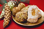 Italian almond biscuits on plate (Christmas)