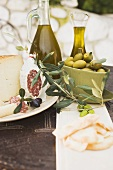Cheese, salami, olives, olive oil, crackers on outdoor table