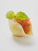 Pasta shell, filled with diced tomato