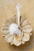 Fleur de sel in spoon in flower-shaped dish