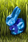 Blue chocolate Easter Bunny in grass