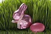 Pink Easter Bunny and Easter egg in grass