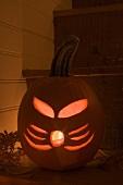 Pumpkin lantern for Halloween on stairs