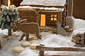Lebkuchenhaus mit Tierfiguren