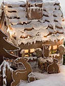 Gingerbread house with gingerbread animals