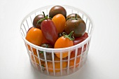 Different types of tomatoes in plastic basket