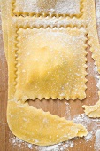 Cutting out home-made ravioli