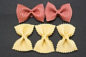 Five farfalle (red and yellow)