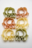 Coloured animal-shaped pasta (elephants)