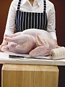 Preparing turkey for stuffing