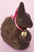 Chocolate Easter Bunny with pink bow and small bell