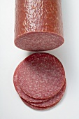 Salami with slices cut