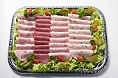 Attractively arranged cold cuts platter
