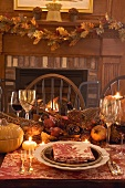 Thanksgiving table with autumn decorations (USA)