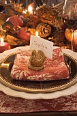 Festive place-setting with place card for Thanksgiving (USA)