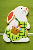 Easter biscuit (Easter Bunny) on green cloth