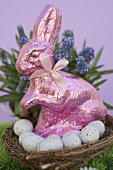 Pink Easter Bunny & Easter eggs in basket, spring flowers
