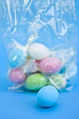 Easter eggs, mostly in cellophane bag