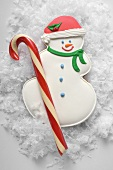 Christmas biscuit (snowman) and candy cane