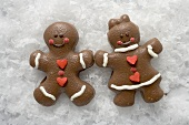 Two Christmassy chocolate-coated gingerbread people in the snow