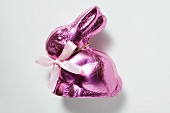 Chocolate bunny in pink foil